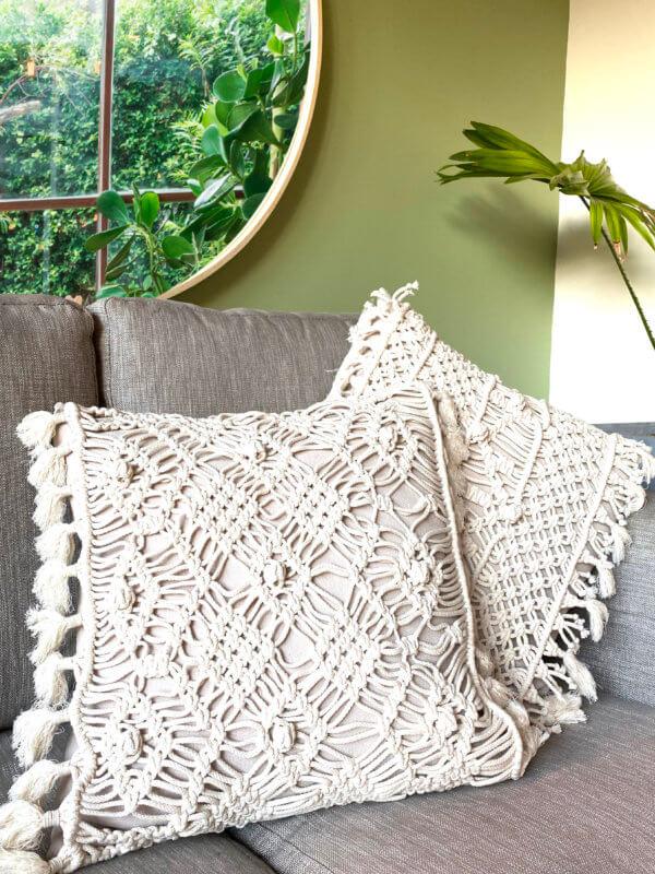 Cojines macramé setx 2 Ebani Colombia tienda online de decoración y mobiliario Cozzy