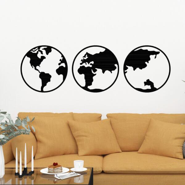 Cuadro Decorativo Mapamundi Tríptico 1.1 Ebani Colombia tienda online de decoración y mobiliario Lansede