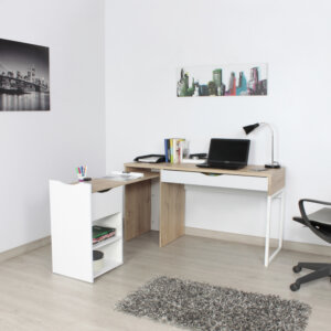 Escritorio moderno para pc o estudio extensible en L Ebani Colombia tienda online de decoración y mobiliario maderkit 1