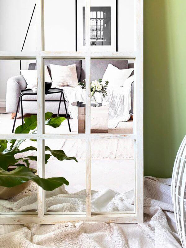 Espejo Decorativo cuadriculado blanco