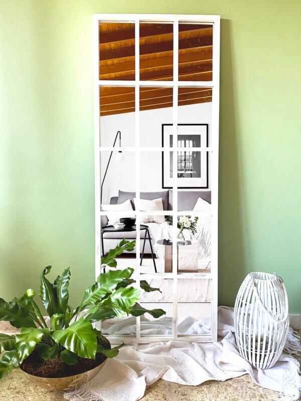 Espejo Decorativo cuadriculado blanco Ebani Colombia tienda online de decoración y mobiliario Cozzy