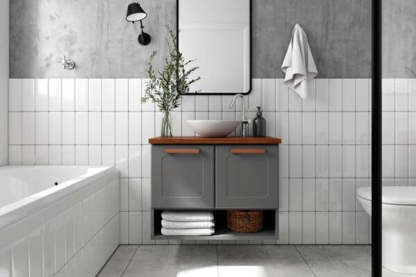 Mueble De Baño Nicho Inferior Con Lavamanos – Grafito Ebani Colombia tienda online de decoración y mobiliario Bertolini