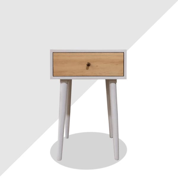 Mesa de noche o nochero nórdico minimalista Joy blanco con cajon en madera de pino