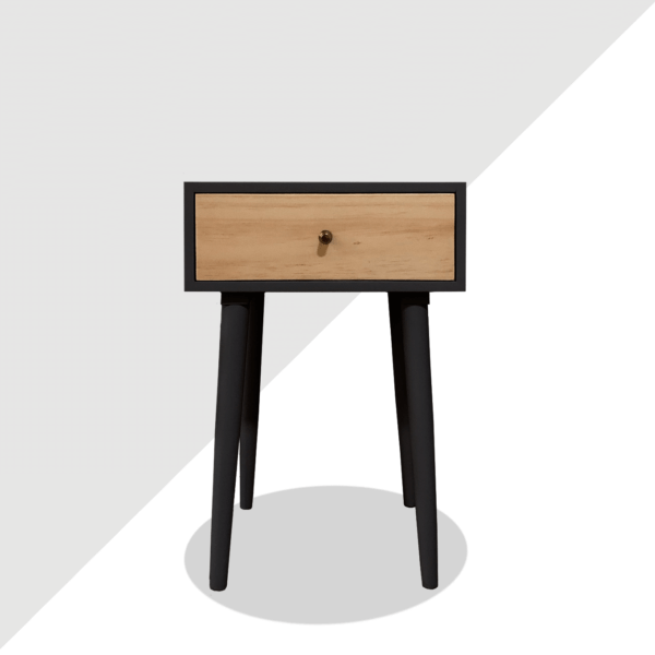 Mesa de noche o nochero nórdico minimalista Joy negro con cajon en madera de pino