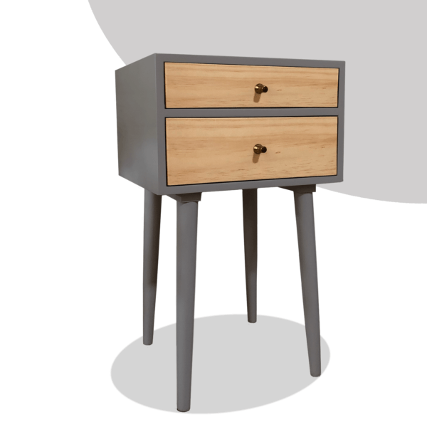 Mesa de noche o nochero nórdico minimalista Sara gris con dos cajones en madera de pino