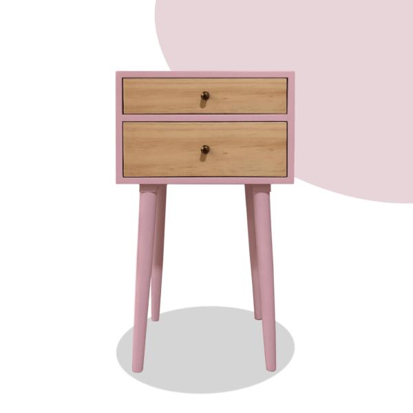 Mesa de noche o nochero nórdico minimalista Sara rosado con dos cajones en madera de pino