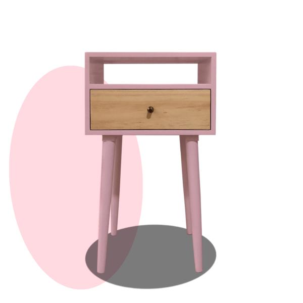 Mesa de noche o nochero nórdico minimalista Mari rosado con cajón en madera de pino