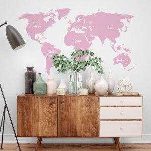 vinilo decorativo de mapamundi rosado creavinilo