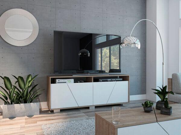 Centro de entretenimiento o mesa para TV Fraktal miel blanco Ebani Colombia tienda online de decoración y mobiliario RTA
