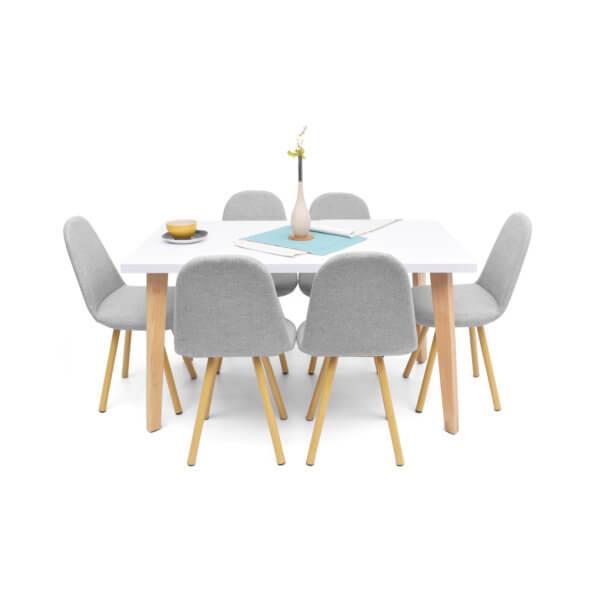 Juego de comedor Lugo matiz + sillas Matiz color Plata x6