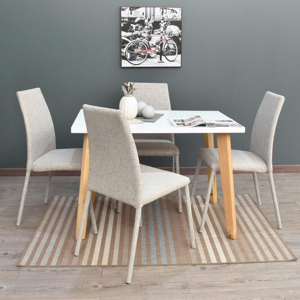 Juego de comedor minimalista nórdico Lugo matiz + sillas venecia taupe x4