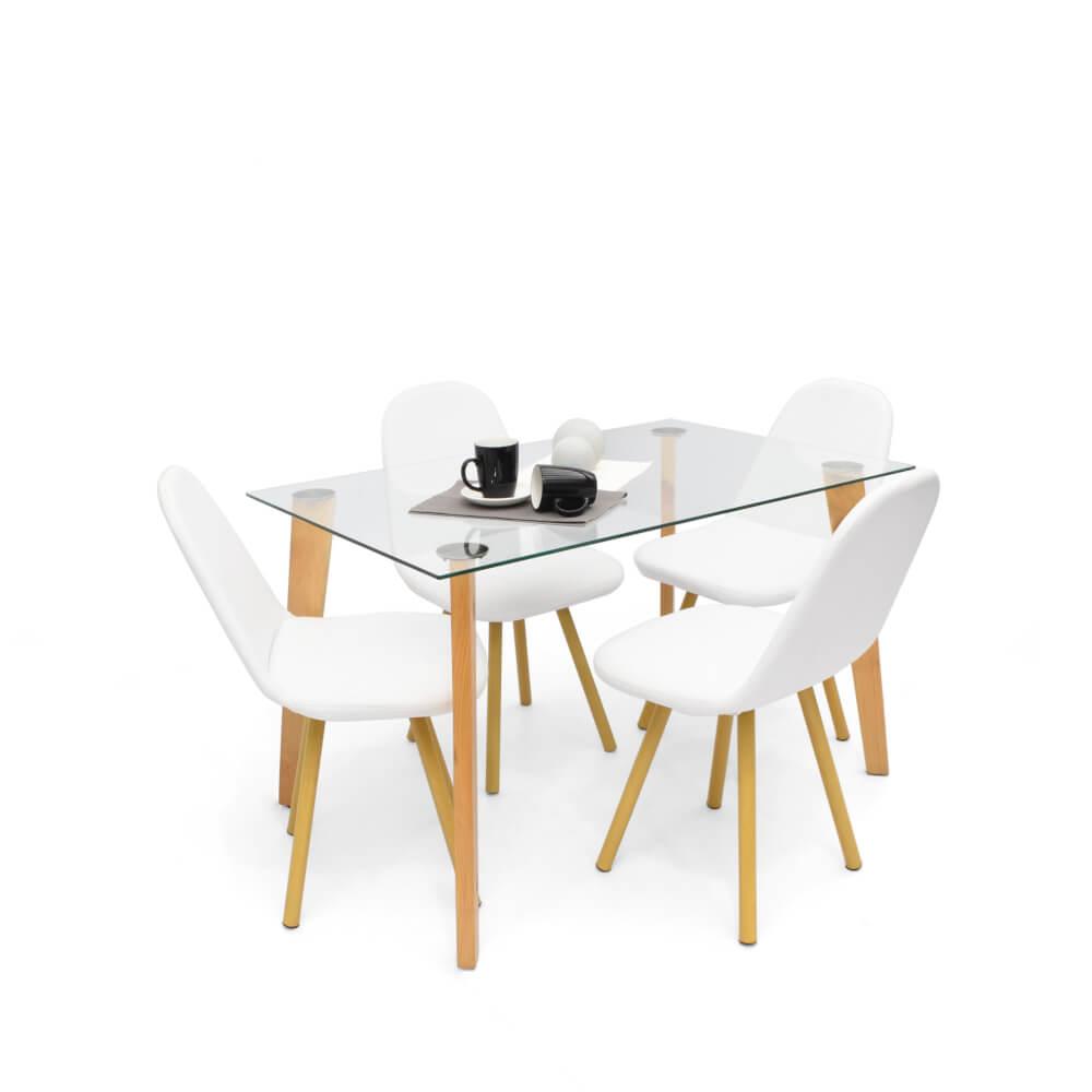 Juego de comedor minimalista Madrid + sillas matiz blanco x4