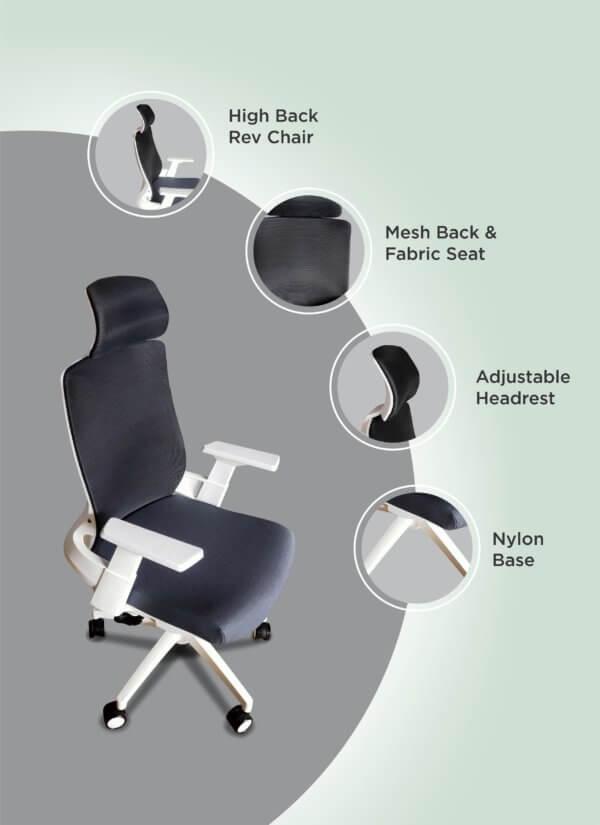 Silla de oficina BERGEN blanco + gris Ebani Colombia tienda online de decoración y mobiliario RTA