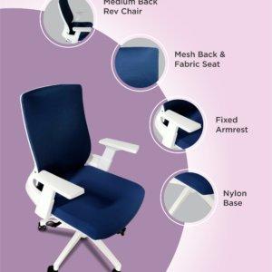 Silla de oficina Chloe blanco + azul Ebani Colombia tienda online de decoración y mobiliario RTA