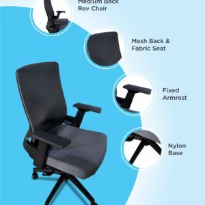 Silla de oficina Chloe negro + gris Ebani Colombia tienda online de decoración y mobiliario RTA