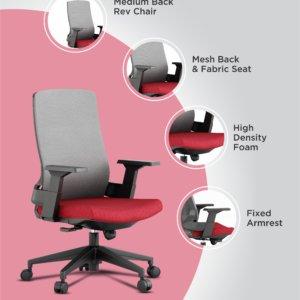 Silla de oficina Chloe negro + rojo Ebani Colombia tienda online de decoración y mobiliario RTA