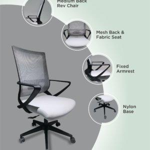Silla de oficina Maurice negro + gris Ebani Colombia tienda online de decoración y mobiliario RTA