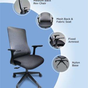 Silla de oficina Megan negro + gris Ebani Colombia tienda online de decoración y mobiliario RTA