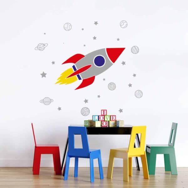 Vinilo Infantil de Cohete con Planetas