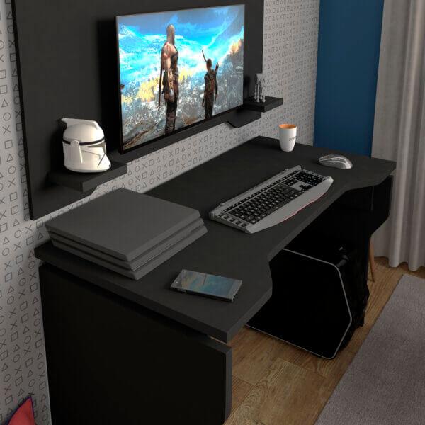 Escritorio para pc o Estudio Gamer - Negro Ebani Colombia tienda online de decoración y mobiliario Bertolini