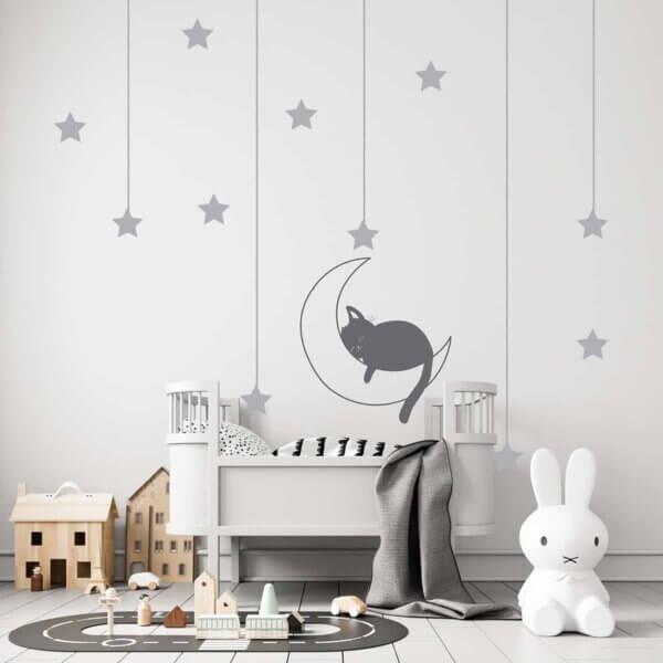Vinilo Infantil de Luna, Gato y Estrellas