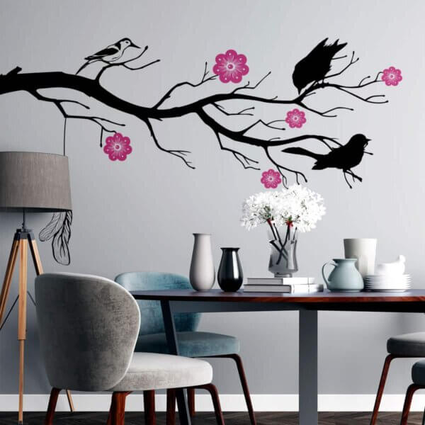 Vinilo decorativo de Chamizo con Pájaros