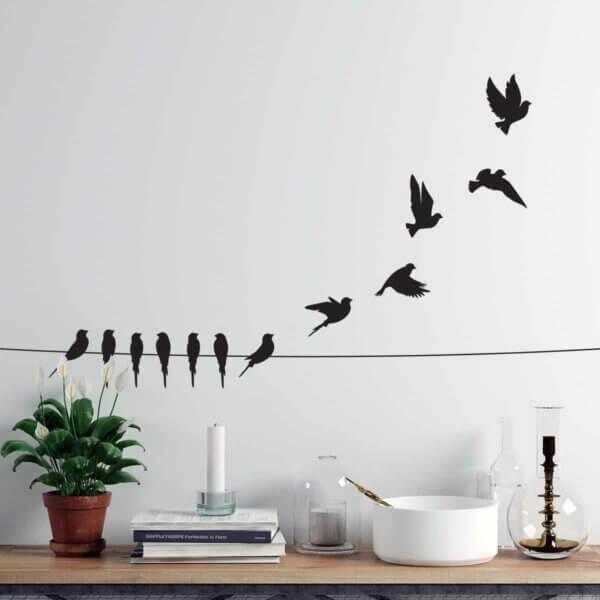 Vinilo Decorativo Pájaros en Alambre