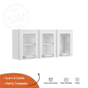 Alacena 3 Puertas de Vidrio Blanco Ebani Colombia tienda online de decoración y mobiliario Bertolini