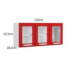 Alacena 3 Puertas de Vidrio Rojo Ebani Colombia tienda online de decoración y mobiliario Bertolini