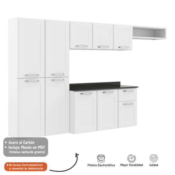 Cocina Dona Maria 2,45 M Muebles Blanco Ebani Colombia tienda online de decoración y mobiliario Bertolini
