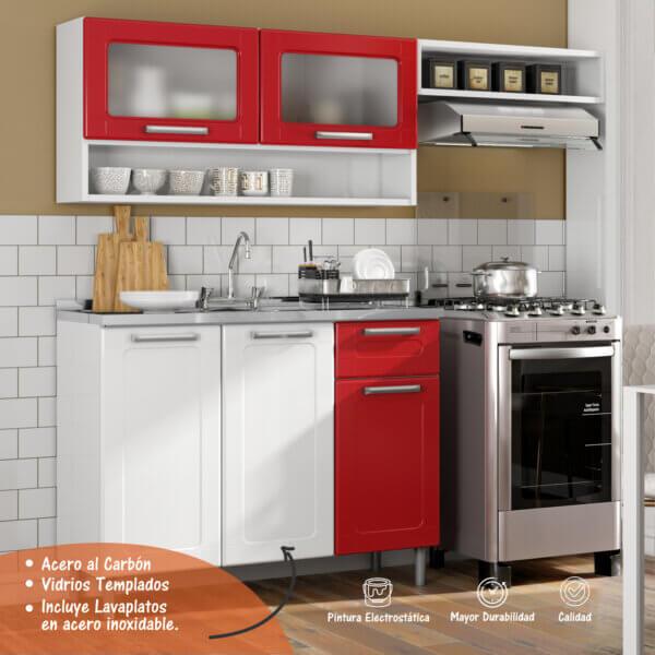 Cocina Integral Con Lavaplatos 5 Puertas 1 Cajón Ebani Colombia tienda online de decoración y mobiliario Bertolini