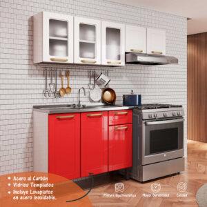 Cocina Integral Rojo con Blanco Ebani Colombia tienda online de decoración y mobiliario Bertolini