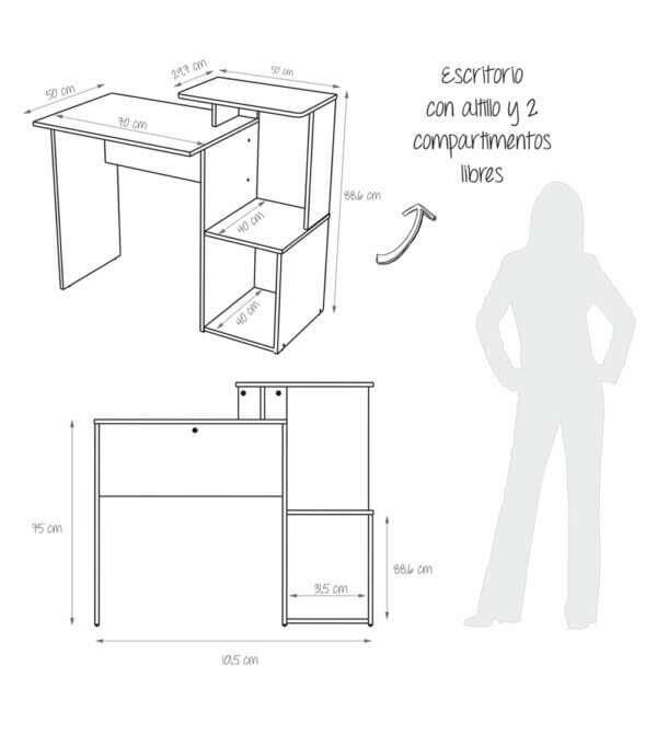 Escritorio para pc o Estudio Mikasa Ebani Colombia tienda online de decoración y mobiliario Maderkit