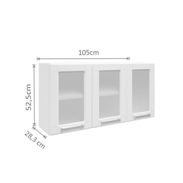 Mueble Superior Triple Puertas de Acero -Blanco