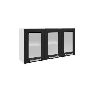 Mueble Superior Triple Puertas de vidrio -Negro Ebani Colombia tienda online de decoración y mobiliario Bertolini