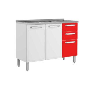 Mueble de Cocina con Lavaplatos 120 Cm Rojo Ebani Colombia tienda online de decoración y mobiliario Bertolini