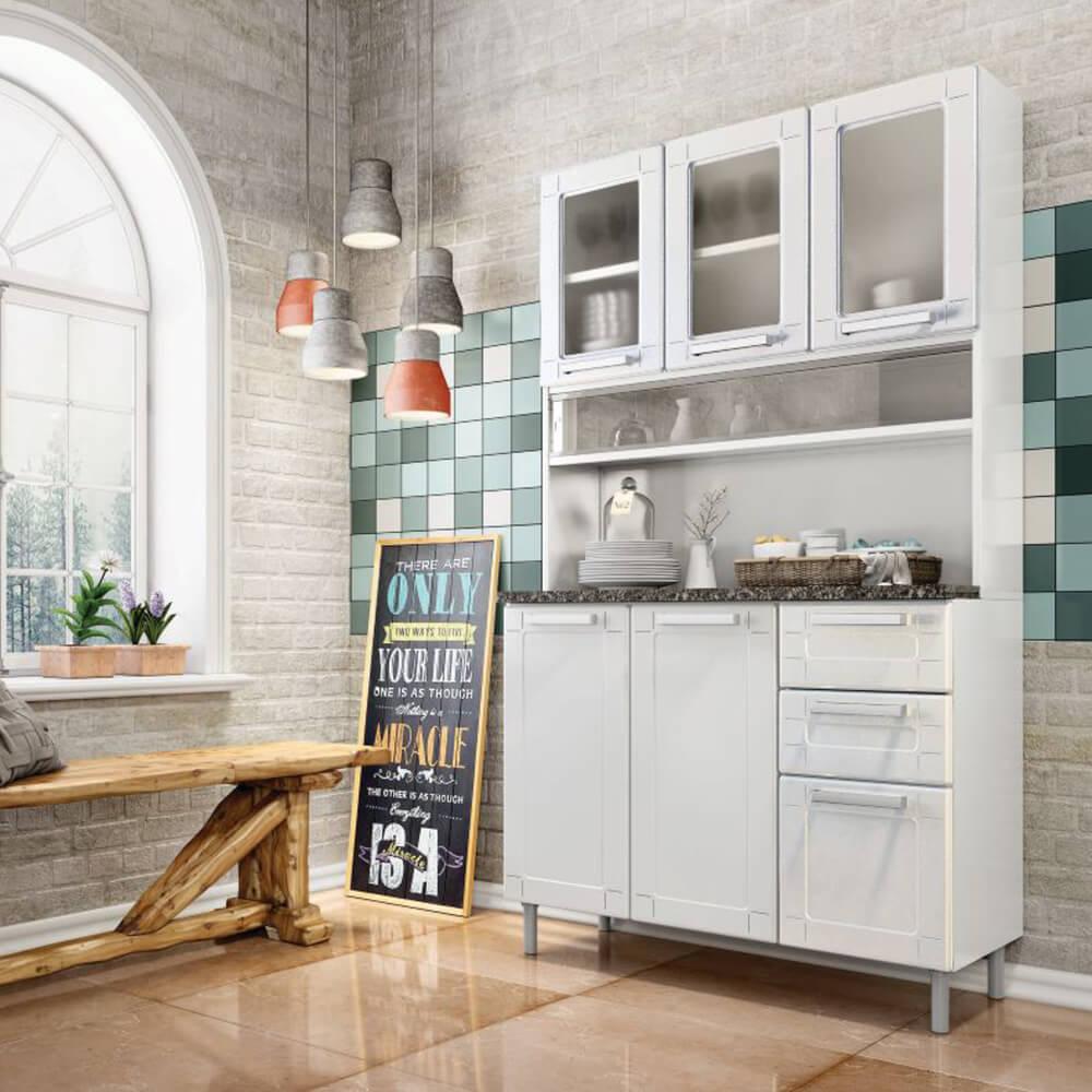 Mueble de Cocina en Acero 6 puertas y 2 cajones - Blanco Ebani Colombia tienda online de decoración y mobiliario Bertolini