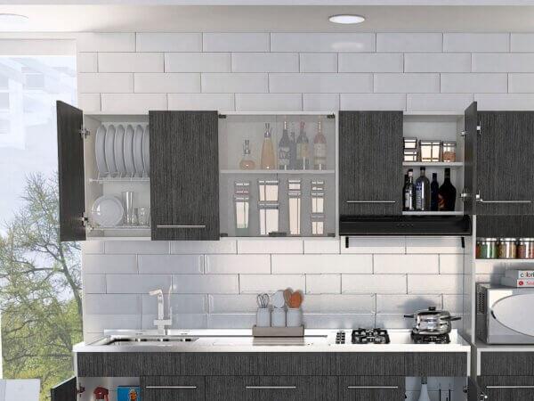 Mueble superior de cocina 1.80 Bari  blanco-roble gris