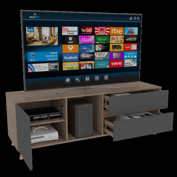 Rack Tv Salem_Miel+Plomo_AMBIENTADA Ebani Colombia tienda online de decoración y mobiliario RTA