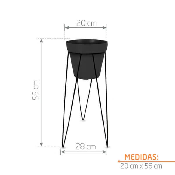 Combo Matera Negra + Base Redonda 20 x 50 cm