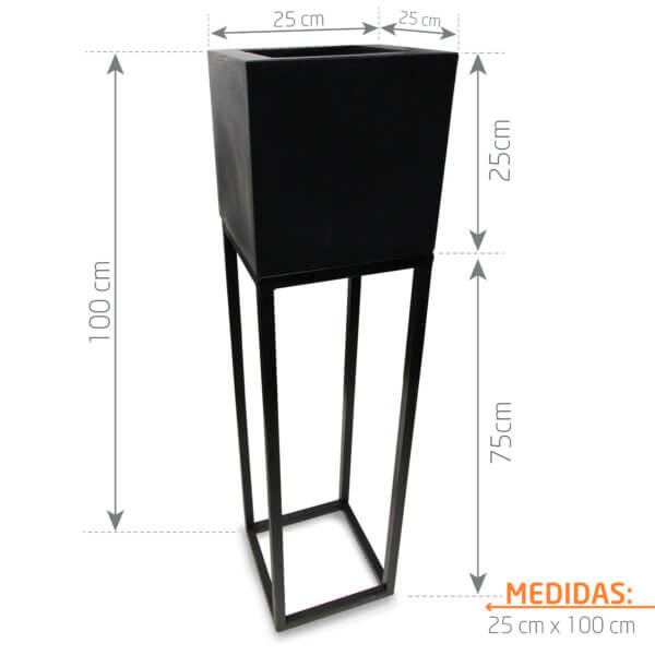 Combo Matera Negra + Base Cuadrada 25 x 75 cm