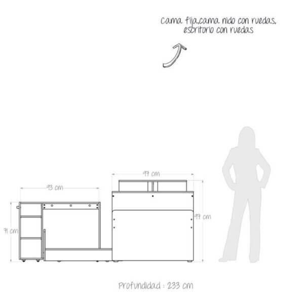 Cama Nido Multifuncional 1 Ebani Colombia tienda online de decoración y mobiliario Maderkit