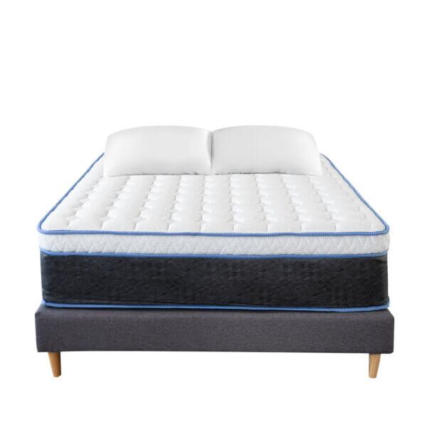 Colchón resortado Boxi Purity+ Base cama EST Gris+ Almohada