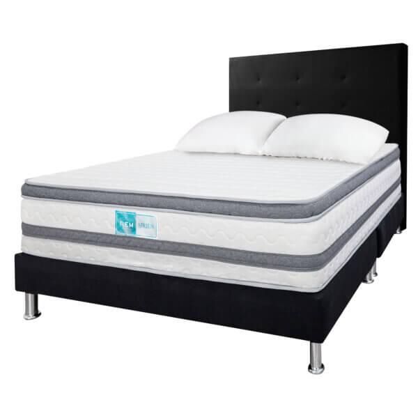 Colchón resortado Sirius+ Base cama EST Negro+ Cabecero+Almohada