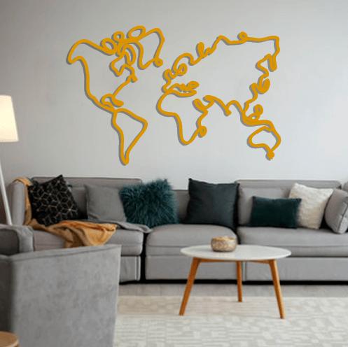 Aplique de pared mapamundi en una línea en metal